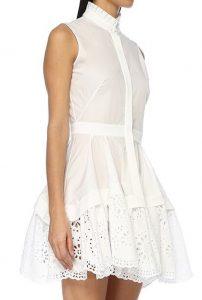 Dantel detaylı beyaz kısa elbise
