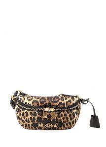 Leopar desenli bel çantası
