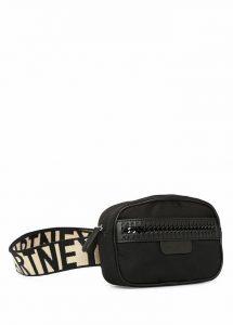 siyah logolu bel çantası