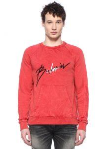 Balmain erkek kırmızı sweatshirt