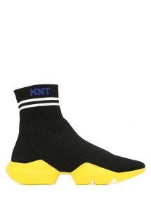 knt siyah sarı logo jakarlı çorap formlu erkek sneaker