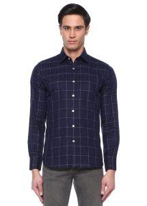 erkek lacivert oduncu gömleği