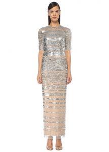 AIDAN MATTOX Silver İşlemeli Yarım Kol Maksi Tül Abiye Elbise