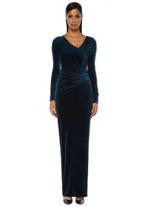 ALEXANDRE VAUTHIER Mavi Asimetrik V Yaka Drapeli Maksi Abiye Elbise