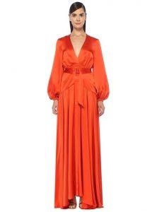ALEXIS Modesta Kırmızı V Yaka Maksi İpek Abiye Elbise