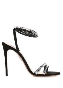AQUAZZURA So Vera Siyah Taş Şeritli Deri Gece Ayakkabısı