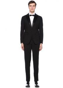 DSQUARED2 Siyah Kırlangıç Yaka Yünlü Takım Elbise