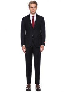 ISAIA Drop8 Siyah Kırlangıç Yaka Kareli Yün Takım Elbise