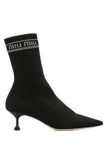 MIU MIU Siyah Logo Jakarlı Çorap Formlu Kadın Bot