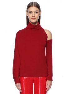 SARA BATTAGLIA Kırmızı Dik Yaka Kol Detaylı Bluz