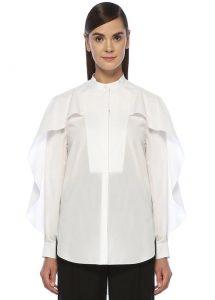 alexander mcqueen beyaz pike dokulu kolu volanlı kadın gömlek