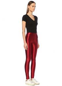 anais margaux cecile kırmızı yüksek bel parlak kadın streç pantolon