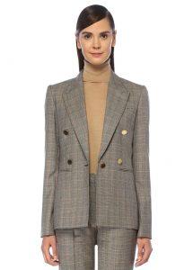 stella mccartney beaufort slim fit ekoseli kruvaze yün blazer kadın ceket