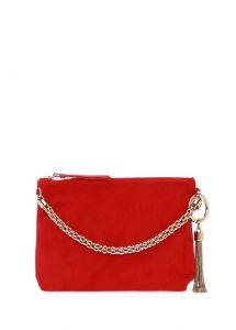 jimmy choo callie kırmızı kadın süet el çantası