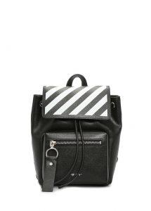 off-white mini diag siyah baskılı kadın deri sırt çantası