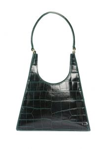 staud rey haki krokodil dokulu kadın deri el çantası