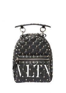 valentino garavani rockstud siyah logolu kadın deri sırt çantası