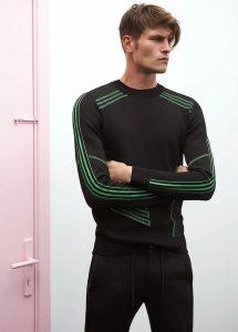 academia siyah neon yeşil detaylı karışık dokulu kazak