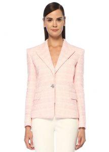 balmain pembe silver tek düğmeli tweed ceket