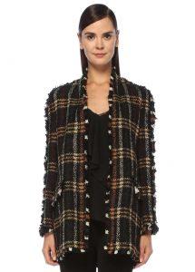 beymen collection siyah şal yaka ekoseli püsküllü tweed ceket