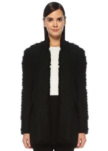 beymen collection siyah püskül detaylı simli tweed ceket