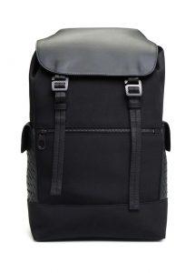 bottega veneta siyah örgü dokulu detaylı erkek sırt çantası