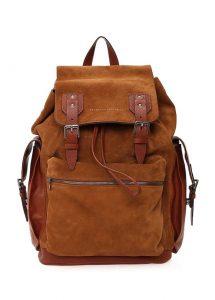 brunello cucinelli kahverengi turuncu erkek deri sırt çantası