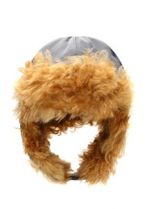 inverni gri taba kadın shearling şapka