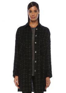 iro mainte oversize siyah parlak dokulu tweed ceket