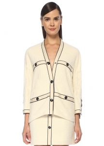 maje ekru v yaka kontrast biyeli tweed ceket