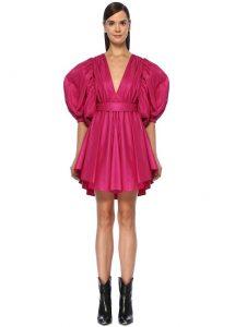 msgm fuşya simli derin v yaka balon kol mini elbise