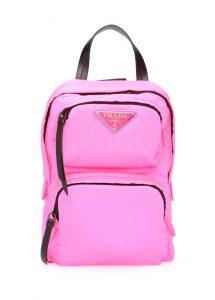 prada neon pembe logolu kadın sırt çantası