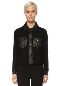 sandro siyah deri garnili tweed ceket