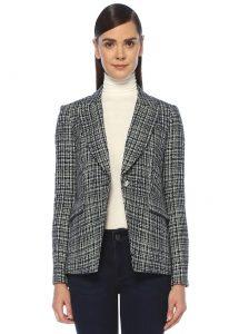 veronica beard cutaway dickey lacivert tek düğmeli tweed ceket