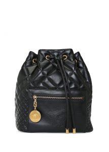 versace medusa siyah kapitoneli kadın deri sırt çantası