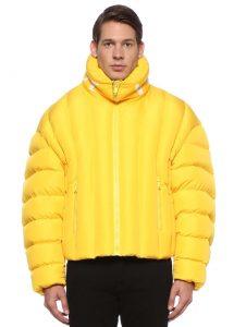 versace sarı yakası logo nakışlı puff mont
