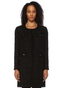 weill carlia siyah işleme detaylı midi tweed ceket