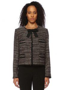weill gladis siyah gold fiyonk detaylı tweed ceket