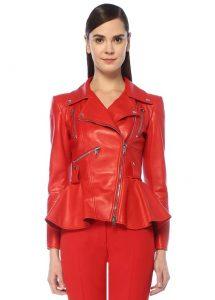 Kırmızı Peplum Detaylı Deri Ceket