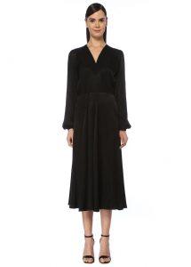 V Yaka midi siyah elbise
