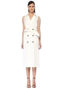 Beyaz midi kruvaze elbise