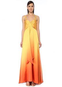 Turuncu Sarı Abiye Elbise