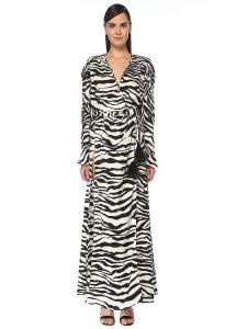 Maksi kruvaze zebra elbise