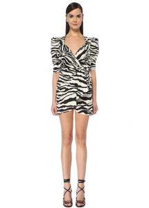 Zebra Desenli Drapeli Anvelop Abiye Elbise